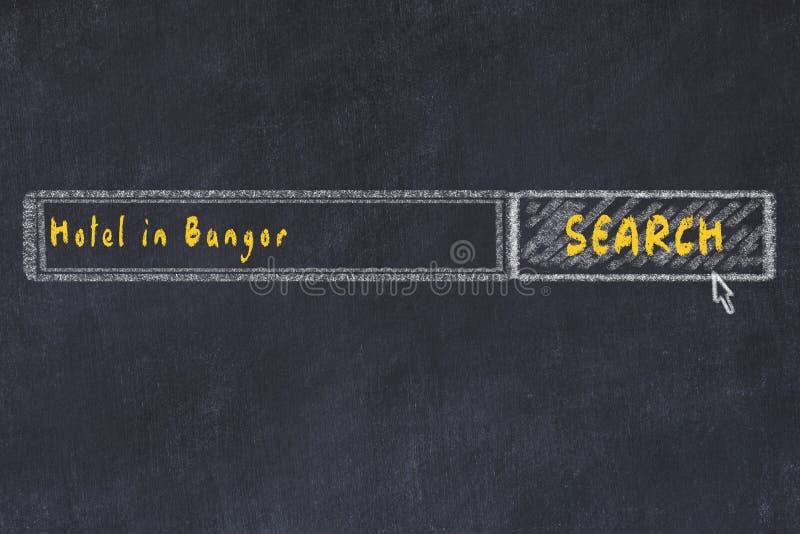 Krita skissar av s?kandemotorn Begrepp av sökande och att boka av ett hotell i Bangor stock illustrationer