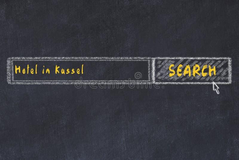 Krita skissar av s?kandemotorn Begrepp av sökande och att boka av ett hotell i Kassel royaltyfri illustrationer