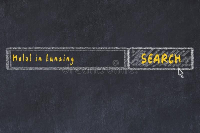 Krita skissar av s?kandemotorn Begrepp av sökande och att boka av ett hotell i Lansing stock illustrationer
