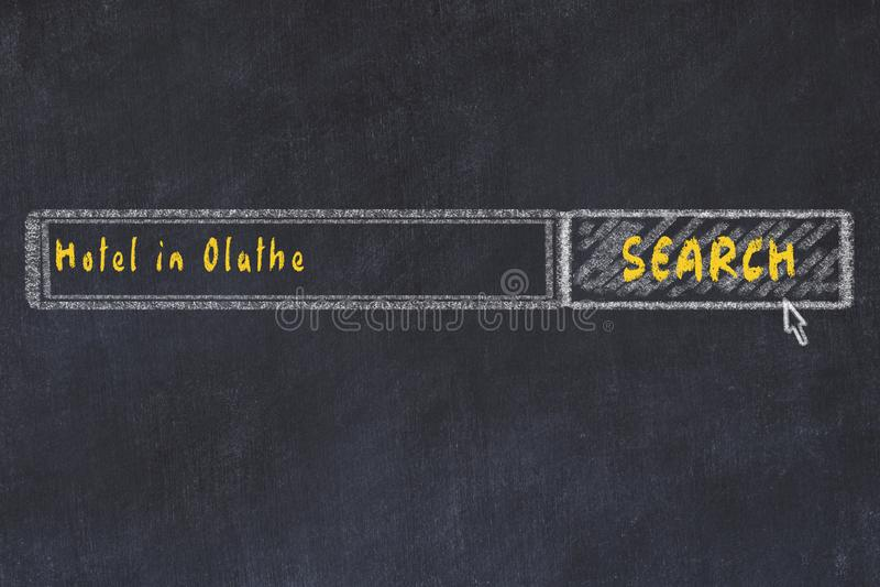 Krita skissar av s?kandemotorn Begrepp av sökande och att boka av ett hotell i Olathe arkivbilder