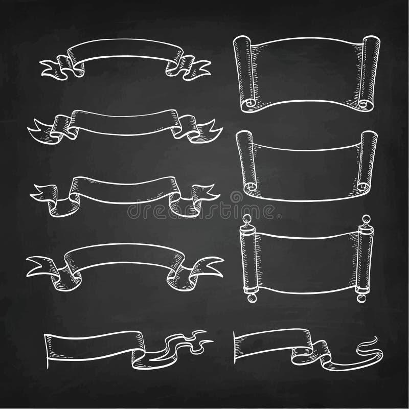 Krita skissar av tappningsnirklar och band royaltyfri illustrationer