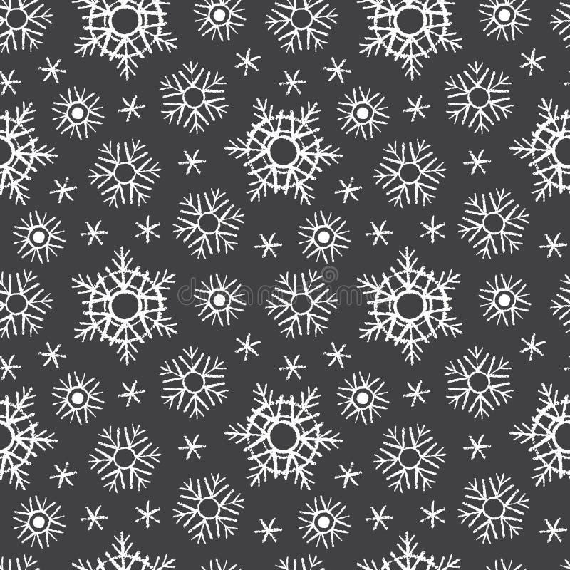 Krita som dras på svarta brädesnöflingor, övervintrar den sömlösa modellen stock illustrationer