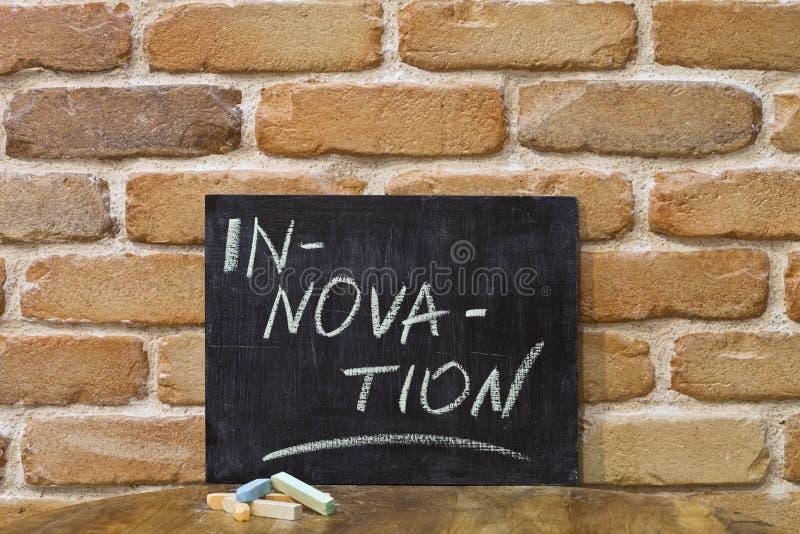 Kritabräde med ordet INNOVATION att drunkna vid handen och chalks på trätabellen på bakgrund för tegelstenvägg royaltyfri bild
