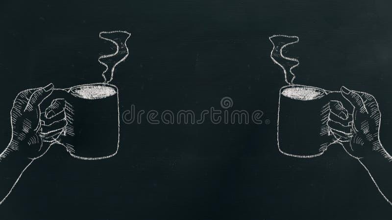 Kritahand som drar en hållande kaffekopp för hand med ånga på svart bräde på det vänstert och rätsidan av ramen royaltyfri fotografi