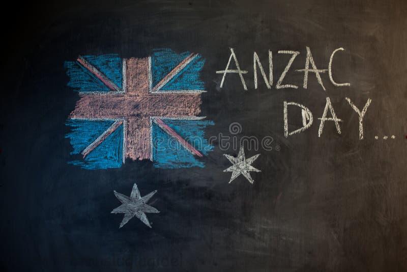 Kritainskrift på svart tavla och bilden av flaggan av Australien stock illustrationer