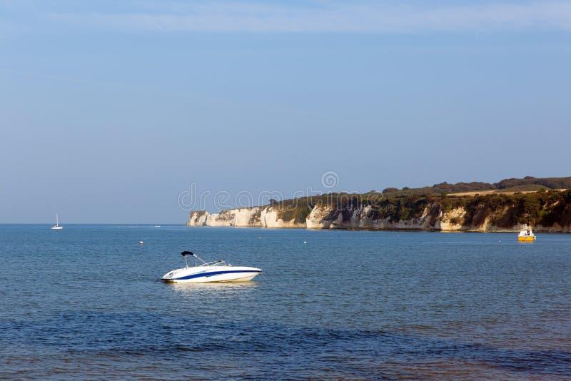 Kritaklippor från Studland sätter på land Dorset England UK arkivbild