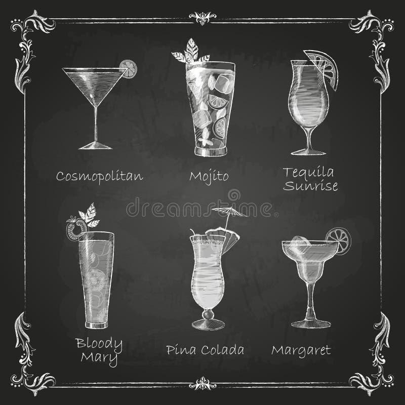 Kritateckningar coctailmeny royaltyfri illustrationer
