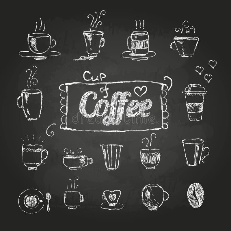 Kritateckningar inställda kaffekoppar stock illustrationer