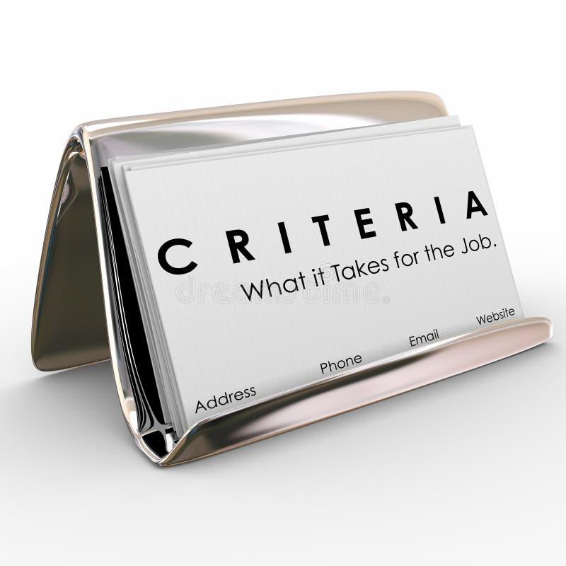 Kriteriumaffärskort vad den tar för Job Skills Worker Exper stock illustrationer