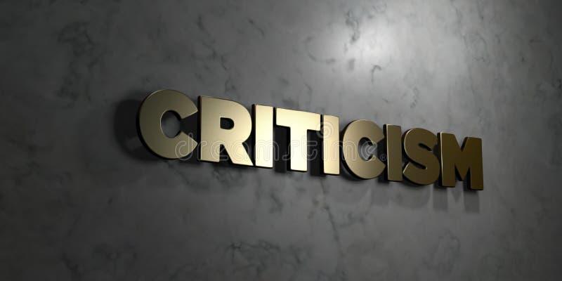 Kritik - Goldtext auf schwarzem Hintergrund - 3D übertrug freies Bild der Abgabe auf Lager lizenzfreie abbildung