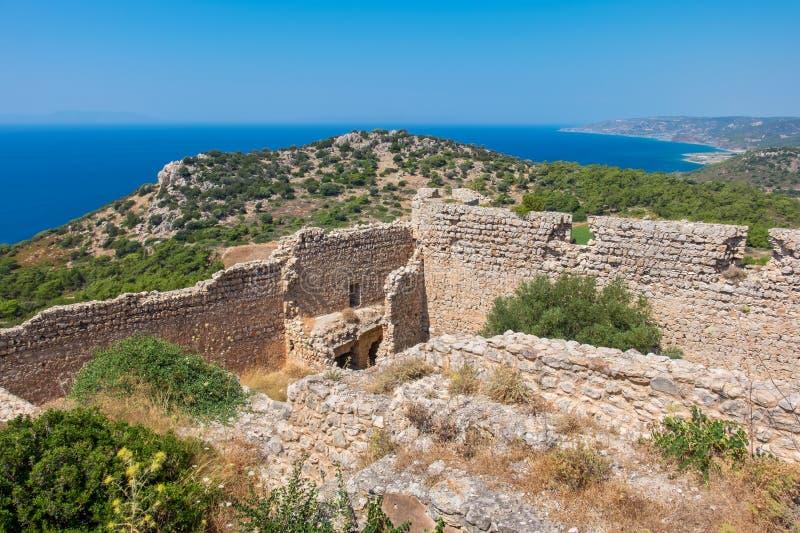Kritinia slott Rhodes Grekland arkivbild