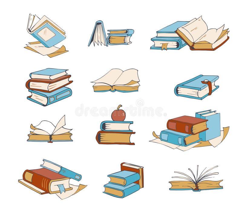 Kritzeln Sie Bücher, Hand gezeichneter Roman, Enzyklopädie, Geschichte, Wörterbuchvektorikonen lizenzfreie abbildung