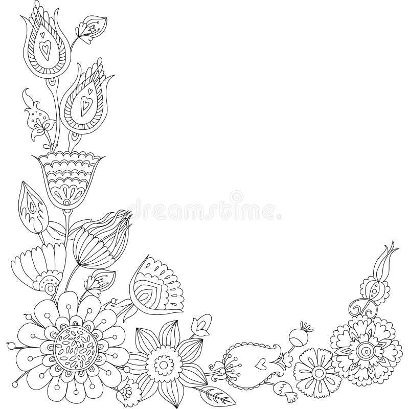 Kritzeln Sie Blumengrußkarte, Schwarzweiss-Blumenrahmen Vektor ...