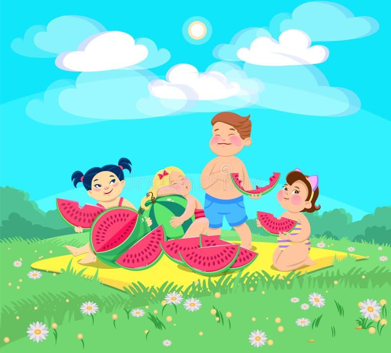 Kritzeln Sie die Kinder an einem Picknick eine Wassermelone essend vektor abbildung