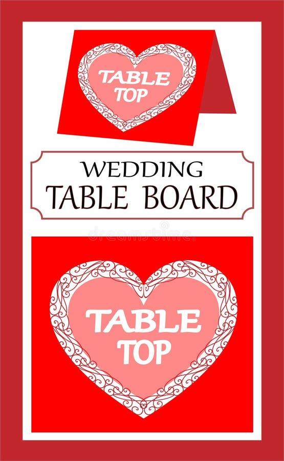 Kritzeln Sie für einen Hochzeitszeiger zum Haupttabelle, helles Design stock abbildung