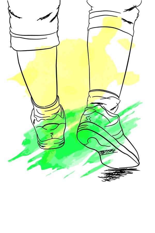 Kritzeln Sie Fuß der gehenden oder laufenden Frau mit Grün-und Gelb-Spritzen-Farbe lizenzfreie abbildung