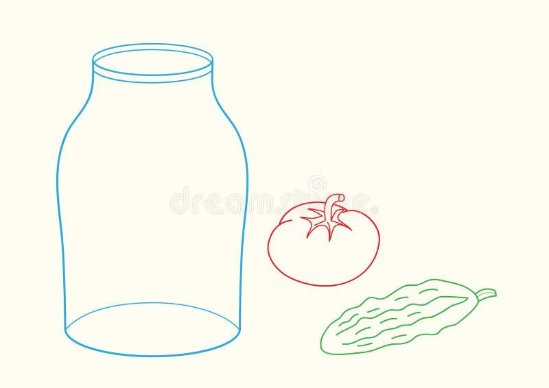Kritzeln Sie Glas, Gurke und Tomate lizenzfreie abbildung