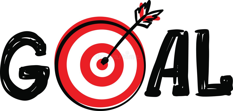 Kritzeln Sie Hand gezeichnetes Wort-Ziel mit Dartscheibeziel und Pfeilsymbol anstelle des Buchstaben O, der auf weißem Hintergrun lizenzfreie abbildung