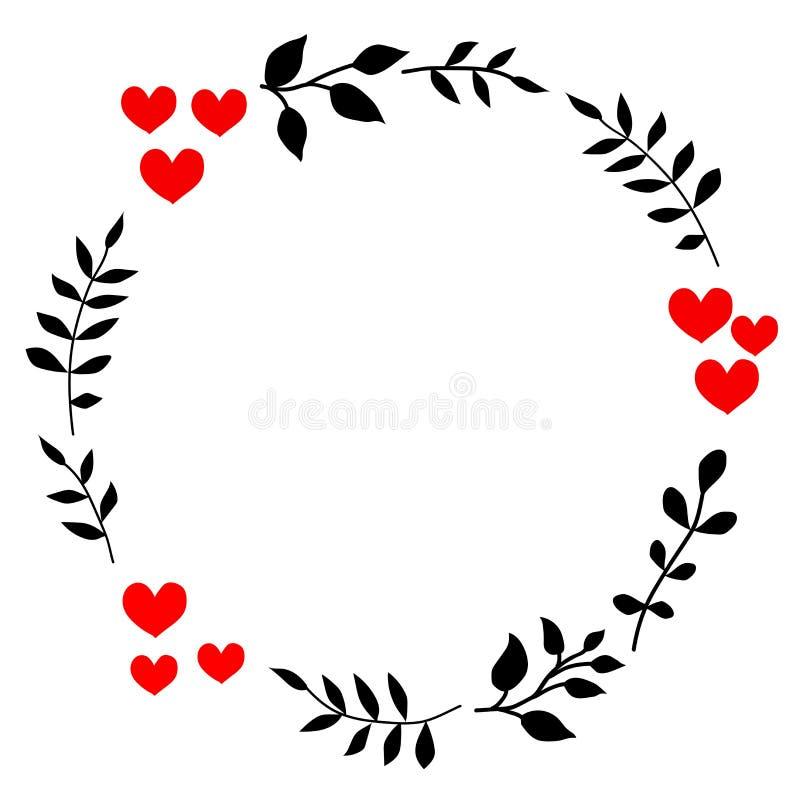 Kritzeln Sie Herz- und Blattkreisrahmen auf einem schwarzen Hintergrund Wreath der Blätter Bereite Schablone für Design, Postkart vektor abbildung
