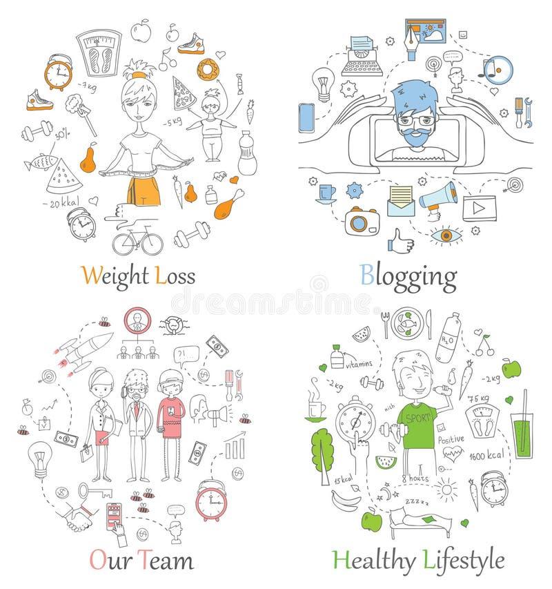 Kritzeln Sie Linie die Fahnen des gesunden Lebensstils, Blogging, Teamarbeit und Gewichtsverlust lizenzfreie abbildung
