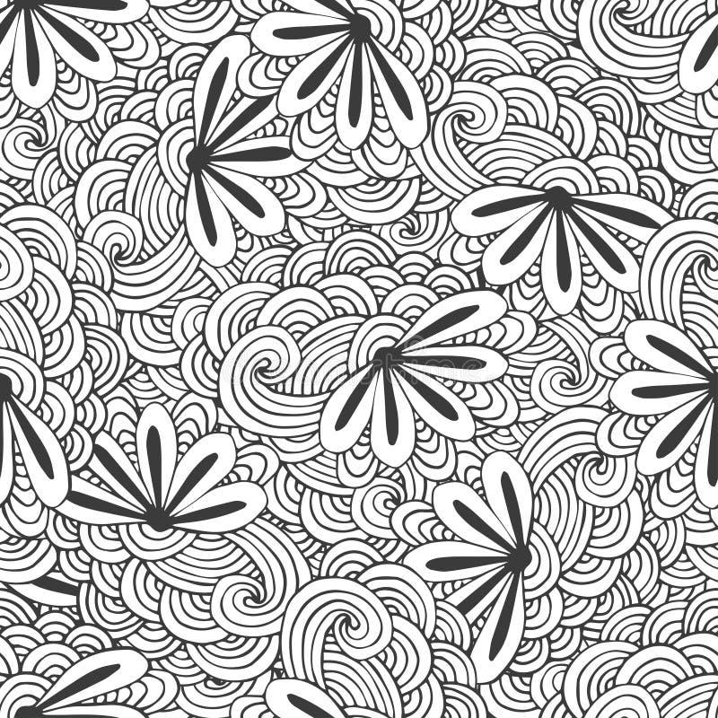 Kritzeln Sie nahtloses Wellenmuster mit Blumen im Vektor Zentangle-Farbtonseite Kreativer Hintergrund für Gewebe, Packpapier oder stock abbildung