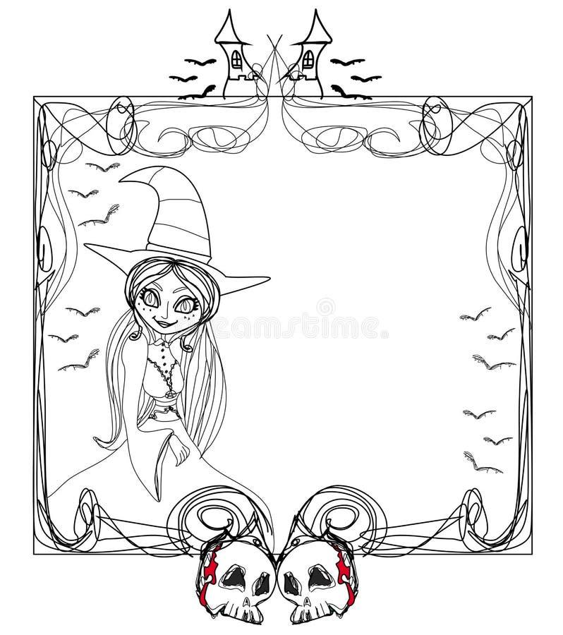 Kritzeln Sie Rahmen, Halloween-Hexe, Knochen, Schläger, Schädel stock abbildung