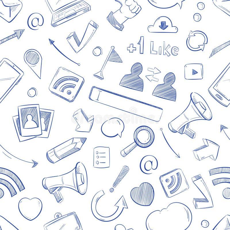 Kritzeln Sie Social Media, Film, Musik, Nachrichten, Video, Online-Marketing, nahtloser Hintergrund sms Vektors stock abbildung