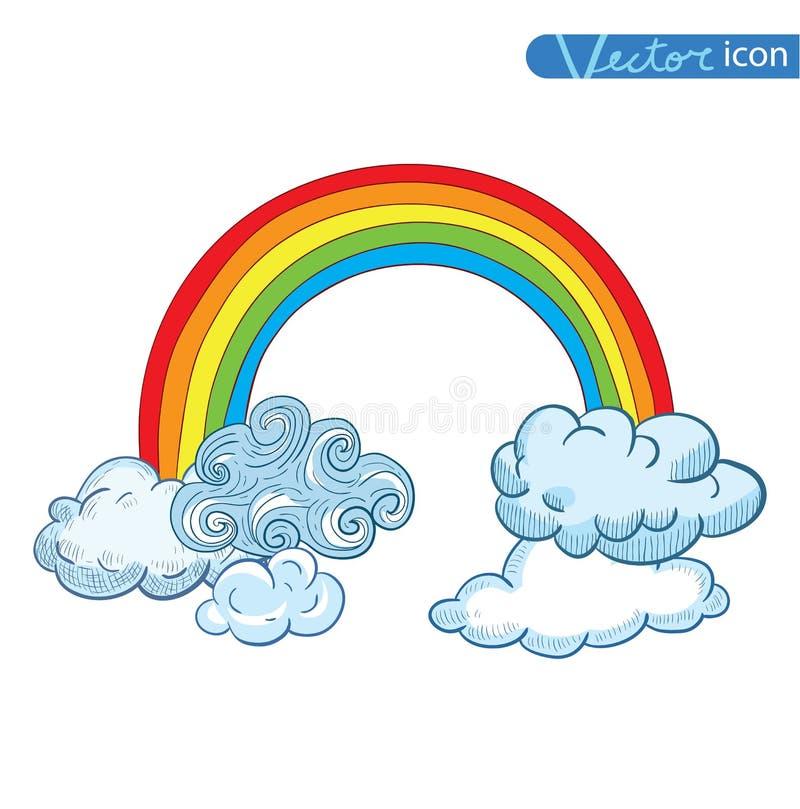 kritzeln sie wolken und regenbogen hand gezeichneter