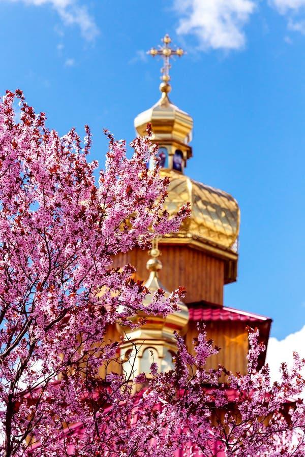 Kriviy Rih, Ucraina, il 22 aprile 2015 Cupole dorate dei churchs ortodossi fotografia stock