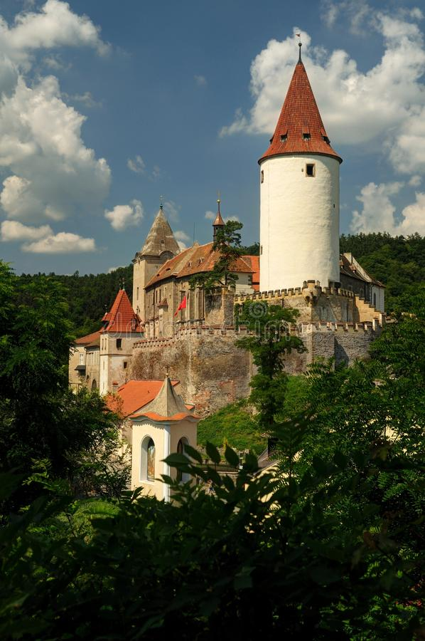 Krivoklat城堡庭院在捷克 免版税库存图片