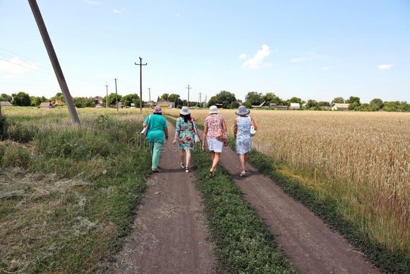 Krivoy Rog, Ukraina, juni 2019 Kvinnor som går längs en landsväg och vetefält royaltyfri fotografi