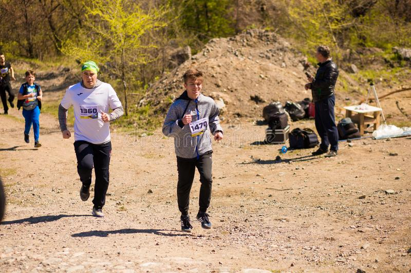 Krivoy Rog, Ukraine - 21 April, 2019: Marathon running race people competing in fitness and healthy lifestyle royalty free stock photography