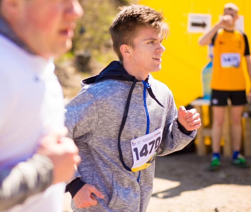 Krivoy Rog, Ukraine - 21 April, 2019: Marathon running race people competing in fitness and healthy lifestyle royalty free stock image