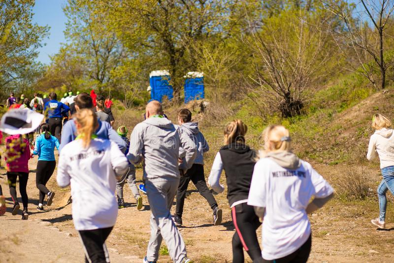 Krivoy Rog, Ukraine - 21 April, 2019: Marathon running race people competing in fitness and healthy lifestyle royalty free stock photo
