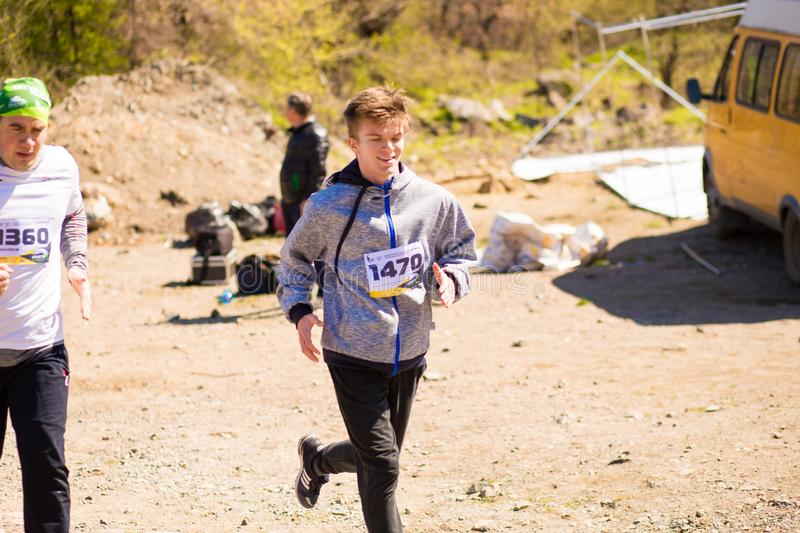 Krivoy Rog, Ukraine - 21 April, 2019: Marathon running race people competing in fitness and healthy lifestyle royalty free stock photos