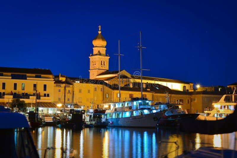 Krk city night view royalty free stock image