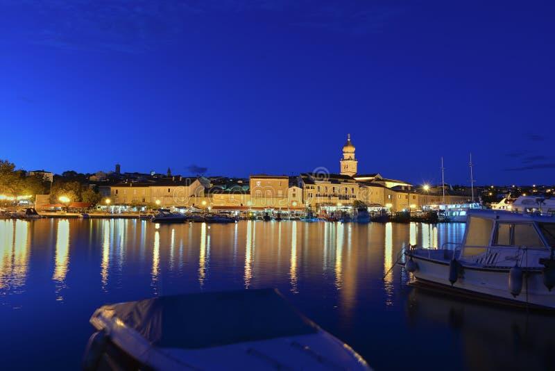 Krk city night view stock photo