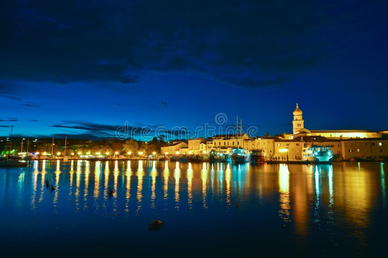 Krk city night view stock photography