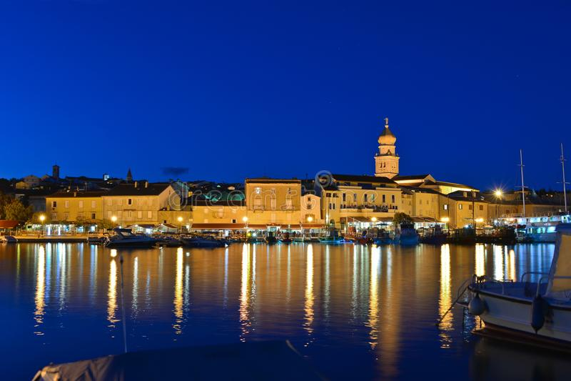 Krk city night view royalty free stock images
