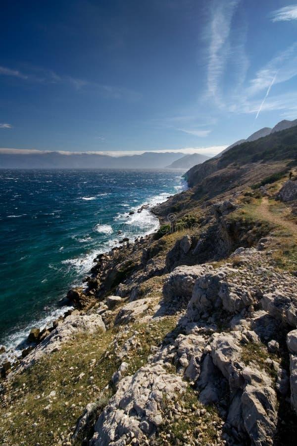 krk d'île de la Croatie de littoral images libres de droits