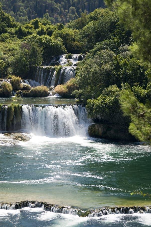 Krka Falls. Krka waterfalls at park main entrance - stunning fauna and waterfalls - Skradin - Croazia 2007 royalty free stock photo