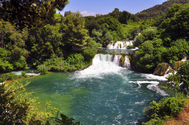 Krka river and waterfall stock photos