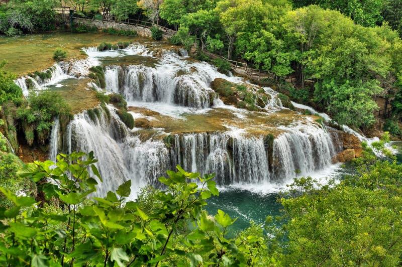 Krka river waterfalls in the Krka National Park, R royalty free stock images