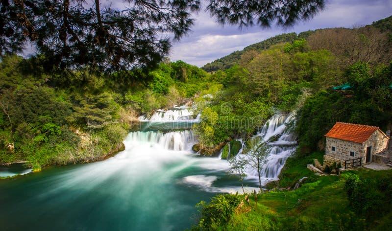 Krka Waterfalls. Waterfalls in Krka National Park stock photo