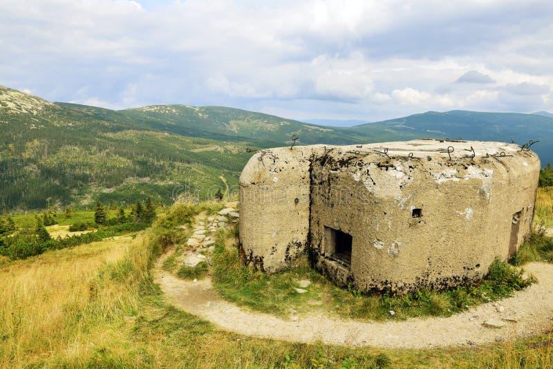 Krkonoše - Mountains Landscape with Czech Defensive Fortifications. Mountains landscape with defensive fortification bunker in Krkonoše, Czech republic royalty free stock photo