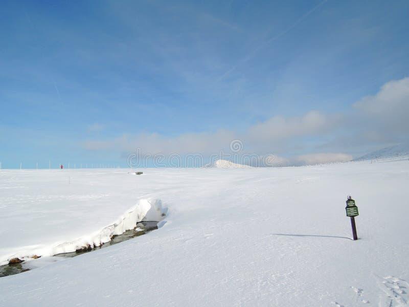 KrkonoÅ-¡ e Berge - Ansicht zu SnÄ-› Å ¾ Ka lizenzfreies stockbild