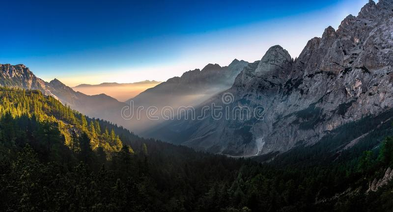 Krnica Valley in the morning stock photography