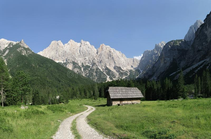 In the Krnica valley with the op of the mountain Križ in Julian Alps royalty free stock photos