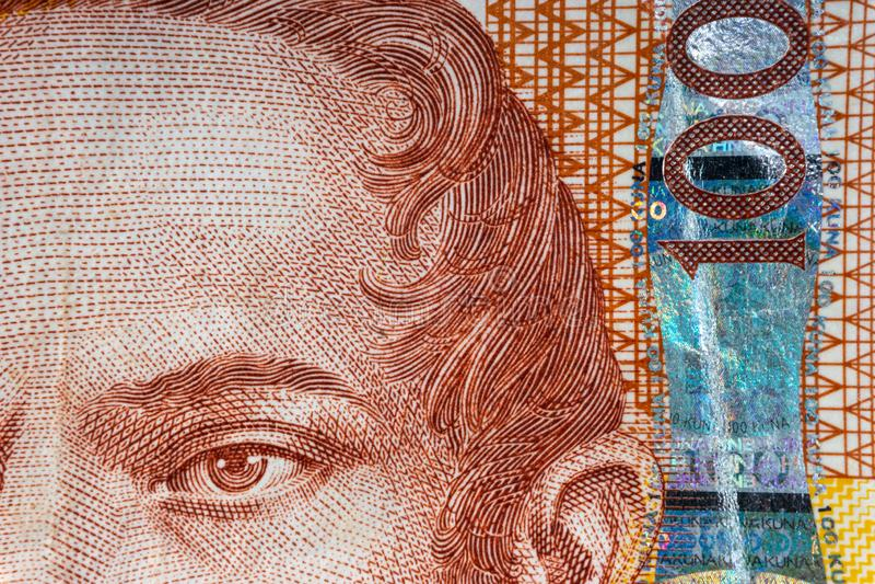 Kroat KUNA eller för pengarvaluta för STO KUNA closeup royaltyfri bild