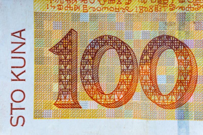 Kroat KUNA eller för pengarvaluta för STO KUNA closeup arkivbilder